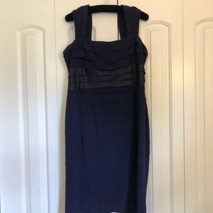 Jones Wear navy tank ruffle dress
